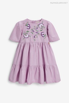 Angel & Rocket Poplin Embroidered Yolk Tiered Dress