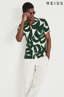 REISS Green Soul Printed Cuban Collar Shirt
