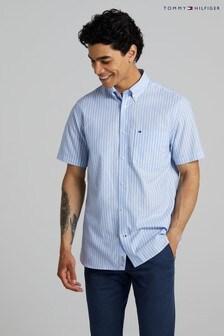 Tommy Hilfiger Blue Natural Stripe Short Sleeve Shirt