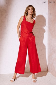 Mint Velvet Red Wide Leg Cropped Trousers