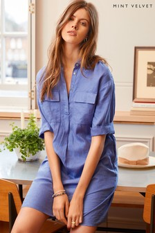 Mint Velvet Blue Linen Shirt Dress