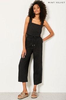 Mint Velvet Black Linen Wide Leg Trousers