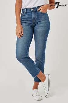 7 For All Mankind Blue Soho Cropped Straight Jeans