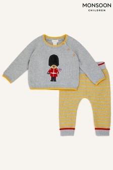 Monsoon Grey Newborn London Guard Knit Set