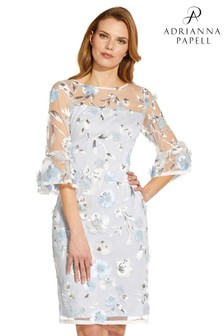 Adrianna Papell Blue Embroidered Sheath Dress