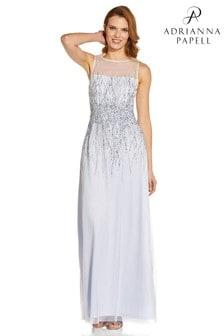 Adrianna Papell White Sleeveless Beaded Mesh Gown