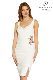 Adrianna Papell White Sweetheart Crepe Cocktail Dress