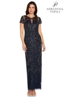 Adrianna Papell Blue Beaded Column Gown