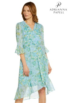 Adrianna Papell Blue Floral Ruffle Wrap Dress