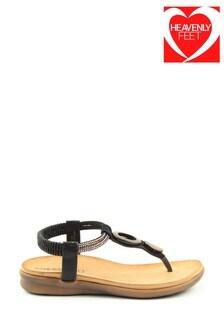 Heavenly Feet Honeydew Ladies Black Sandals