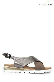 Lunar Pewter Linzi Metallic Cross Strap Sandals
