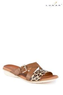 Lunar Natural Josie Leopard Strappy Sandals