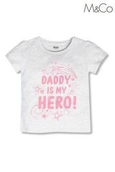 M&Co Grey Dad is My Hero T-Shirt