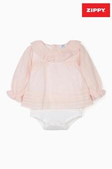 Zippy Pink Plumeti Bodysuit Blouse