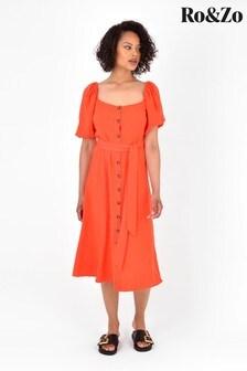 Ro&Zo Orange Square Neck Button Through Dress