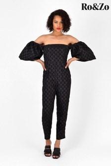 Ro&Zo Black Spot Jacquard Bardot Jumpsuit