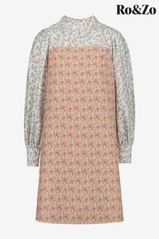 Ro&Zo Orange Mix & Match Floral Puff Sleeve Dress
