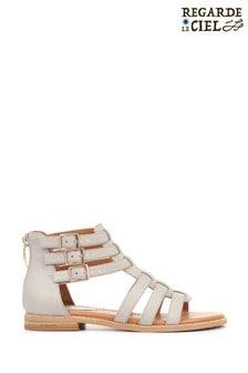 Regarde Le Ciel Ladies Grey Catalina-01 Leather Gladiator Sandals