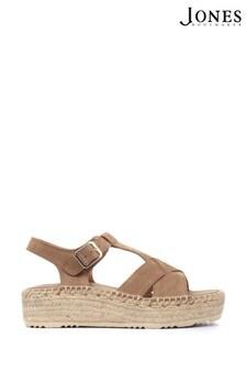 Jones Bootmaker Natural Adrienne Ladies Leather Espadrille Sandals