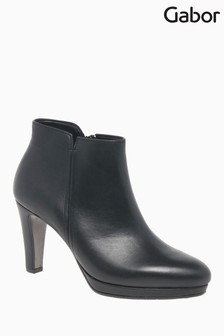 Gabor Orla Black Leather Ankle Boots