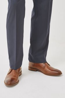 Dark Tan Wide Fit Contrast Sole Leather Derby Shoes