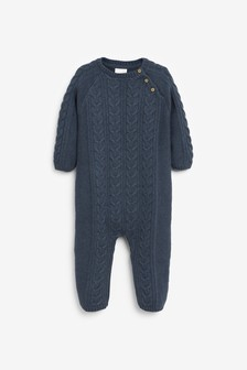 Navy Cable Knitted Romper (0mths-2yrs)