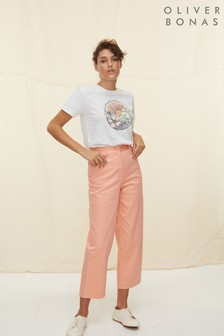 Oliver Bonas Pink Washed Coral Pink Cotton Wide Leg Trousers