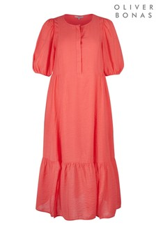 Oliver Bonas Red Coral Textured Midi Dress
