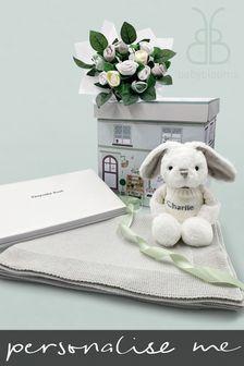 Babyblooms Personalised Bunny Blanket Keepsake Christening Baby Hamper