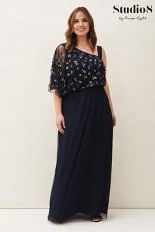 Studio 8 Blue Orianne One Shoulder Tulle Dress