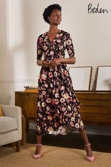Boden Black Lavinia Jersey Wrap Dress