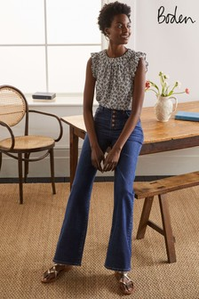Boden Blue Button Fly Relaxed Flared Jeans