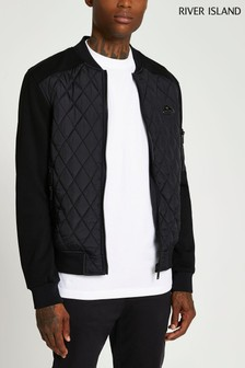 River Island Black Quilted Blocked Bomber Jacket