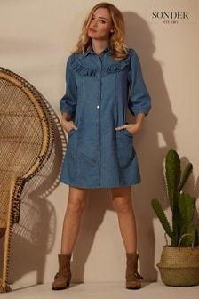 Sonder Studio Denim Frill Shirt Dress