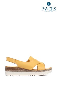 Pavers Ladies Leather Cross-Over Sandals