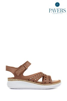 Pavers Ladies Leather Touch Fasten Cut Out Sandals