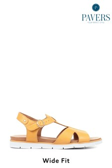 Pavers Wide Fit Leather T-Bar Sandals