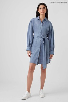 French Connection Blue Apika End On End Tie Waist Dress