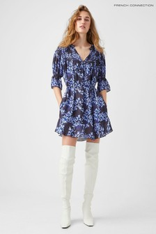 French Connection Blue Dionne Gathered Nk Dress
