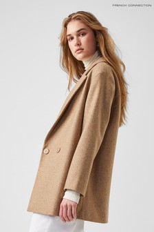French Connection Natural Balia Tweed Coat