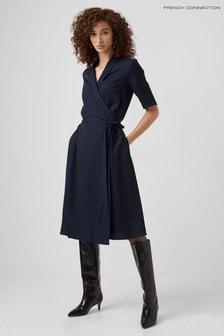 French Connection Blue Aleena Sinni Lyocell Wrap Dress