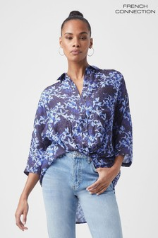 French Connection Blue Dionne Twist Shirt