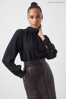 French Connection Black Arina Solid Button Neck Top