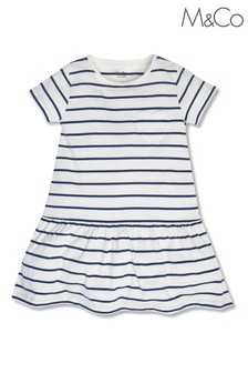M&Co White Tiered Striped Dress