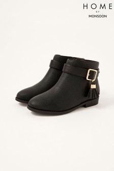 Monsoon Black Buckle Strap Tassel Boots
