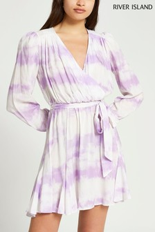 River Island Purple Tie Dye Wrap Tie Waist Dress