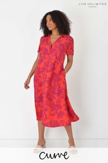 Live Unlimited Curve Sustainable Red Floral Tiered Dress