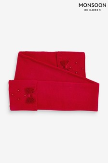 Monsoon Red Ruby Pearl And Bow Scarf