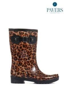 Pavers Leopard Print Wellies