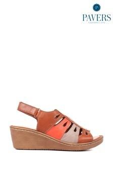 Pavers Ladies Tan Leather Wedge Sandals